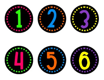 Neon Numbers on Black - Dashes