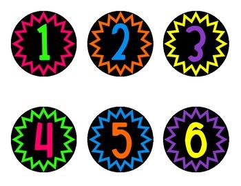 Neon Numbers on Black - Zig Zag
