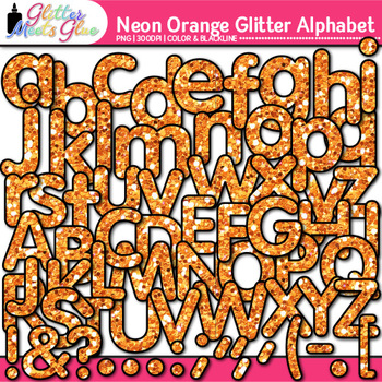 Neon Orange Alphabet Clip Art {Glitter Letters for Classroom Decor & Resources}