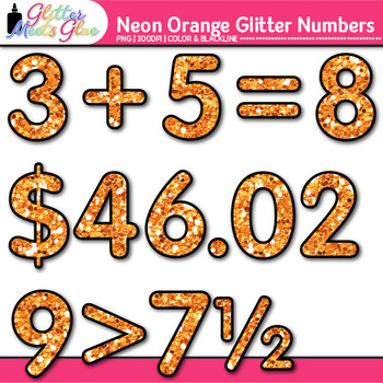Neon Orange Math Numbers Clip Art {Great for Classroom Decor & Resources}
