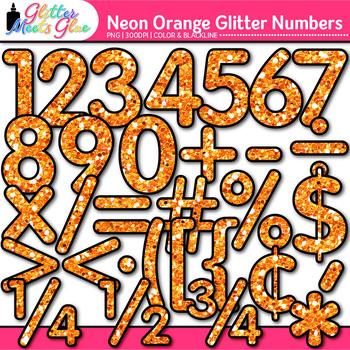 Neon Orange Math Numbers Clip Art | Glitter Classroom Decor & Resources
