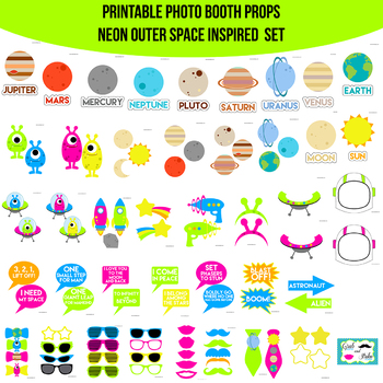 photo regarding Printable Photo Props referred to as Neon Outer House Printable Image Booth Prop Established