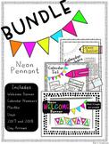 Neon Pennant Banner Set