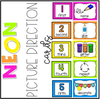 Neon Picture Direction Cards #spedprepsummer2