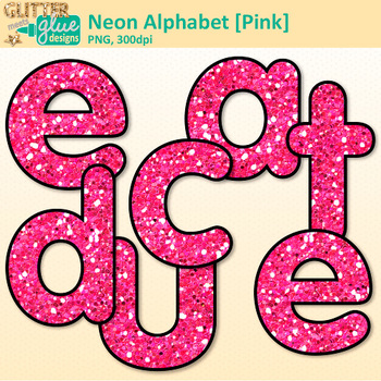 Neon Pink Alphabet Clip Art {Glitter Letters for Classroom Decor & Resources}