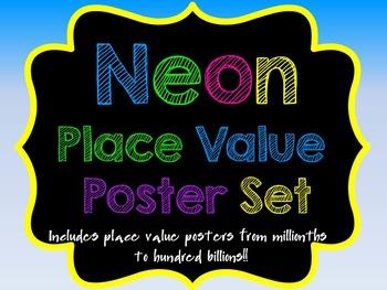 Neon Place Value Poster Set