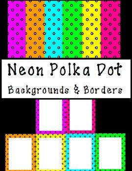 Neon Polka Dot Backgrounds and Borders