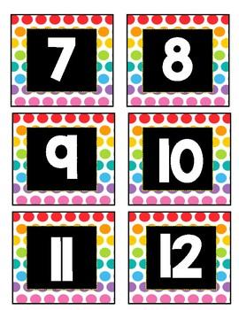 Neon Polka Dot Number Labels