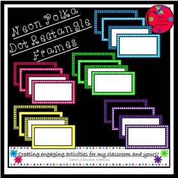Neon Polka Dot Rectangle Frames