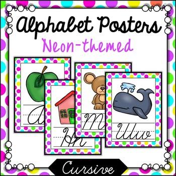 Neon Polka Cursive Alphabet Posters