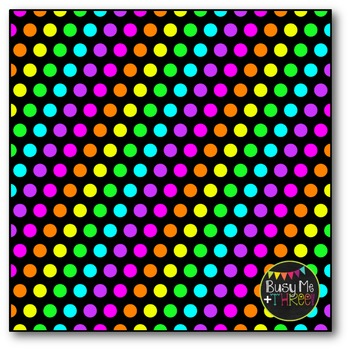 Neon Polka Dots on BLACK Digital Papers {Commercial Use Digital Graphics}