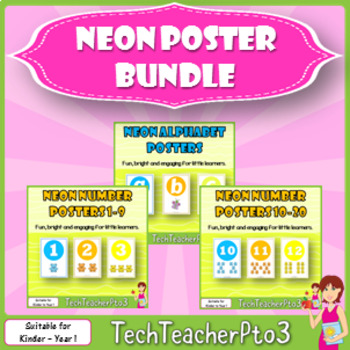 Neon Posters Sets Bundle - alphabet and numbers 1-20 to brighten your classroom