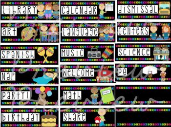 Neon Pre-K and Kindergarten Schedule Cards