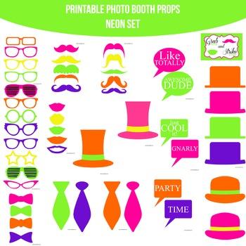 Neon Printable Photo Booth Prop Set