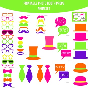 Neon Printable Photo Booth Prop Set