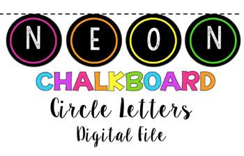 Neon Rainbow Chalkboard Letters