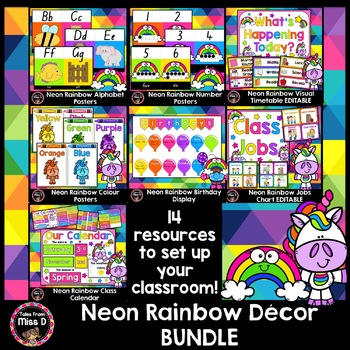 Neon Brights Decor Bundle Teaching Resources Teachers Pay Teachers