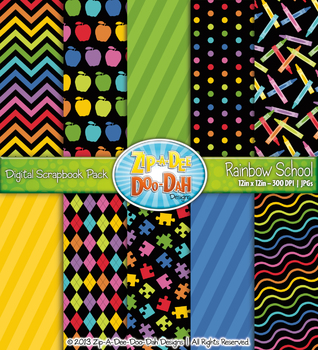 Neon Rainbow School Digital Scrapbook Pack {Zip-A-Dee-Doo-Dah Designs}