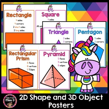 Neon Rainbow Unicorn 2D Shape and 3D Object Posters