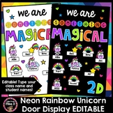 Neon Rainbow Unicorn Door Display Editable