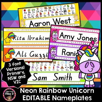 Neon Rainbow Unicorn Name Tags / Name plates EDITABLE