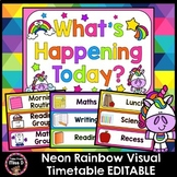 Neon Rainbow Unicorn Visual Timetable EDITABLE