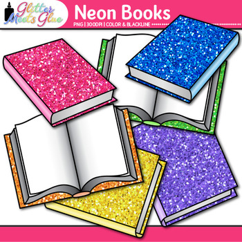 Neon Reading Book Clip Art | Back to School Supplies for Classroom Resources