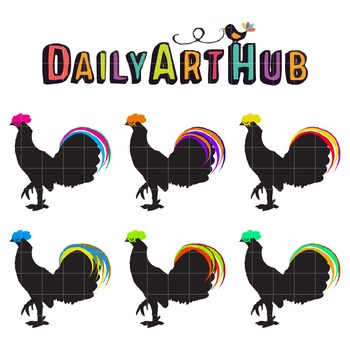 Neon Roosters Clip Art - Great for Art Class Projects!
