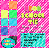 Neon School Stripes Rainbow Background Border Frame | Digital Paper | (Boarder)