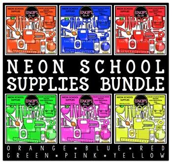 Neon School Supplies Clip Art Bundle