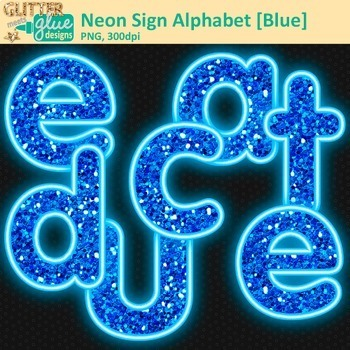 Blue Neon Sign Alphabet Clip Art {Glitter Letters for Classroom Decor}