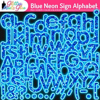 Blue Neon Sign Alphabet Clip Art {Glitter Letters for Classroom Decor}