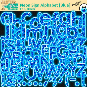 Neon Sign Alphabet Clip Art Bundle | Glitter Letters for Classroom Decor