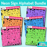 Neon Sign Alphabet Clip Art Bundle {Glitter Letters for Cl