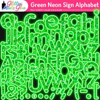 Green Neon Sign Alphabet Clip Art {Glitter Letters for Classroom Decor}
