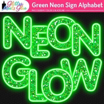Green Neon Sign Alphabet Clip Art | Glitter Letters for Classroom Decor