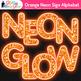 Orange Neon Sign Alphabet Clip Art {Glitter Letters for Classroom Decor}