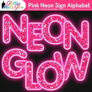 Pink Neon Sign Alphabet Clip Art {Glitter Letters for Classroom Decor}