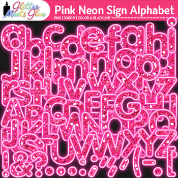 Pink Neon Sign Alphabet Clip Art {Glitter Letters for Clas