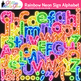 Rainbow Neon Sign Alphabet Clip Art {Glitter Letters for C
