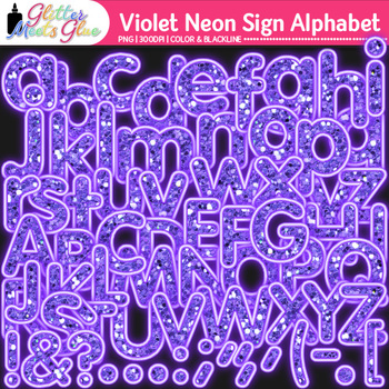 Violet Neon Sign Alphabet Clip Art {Glitter Letters for Cl