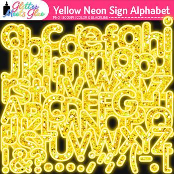 Yellow Neon Sign Alphabet Clip Art {Glitter Letters for Classroom Decor}
