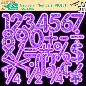 Neon Sign Math Numbers Clip Art Bundle | Great for Classroom Decor & Resources