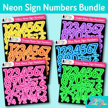 Neon Sign Math Numbers Clip Art Bundle {Glitter Meets Glue}