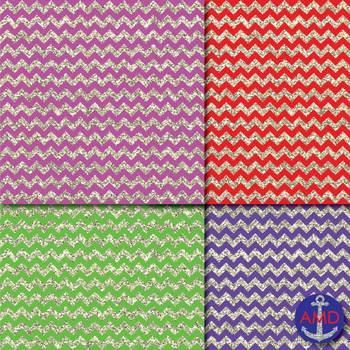 Neon & Silver Glitter Chevron Digital Paper Pack