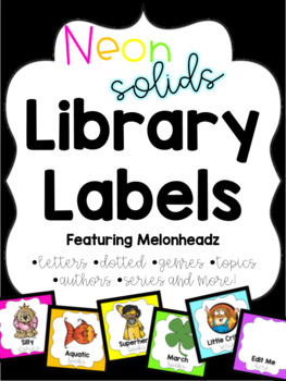 Neon Solid Library Labels feat. Melonheadz with corresponding stickers