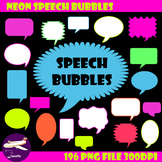 Neon Speech Bubble Clip Art for Sellers, Bulletin Boards and More