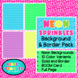 Neon Sprinkles Rainbow Background Border Frame | Digital Paper | (Boarder)