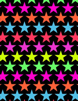 Neon Star Digital Papers and Frames for Work Books, Cover Pages & Sellers