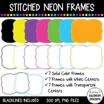 Neon Stitched Frames Clip Art Set - 21 Frames Included